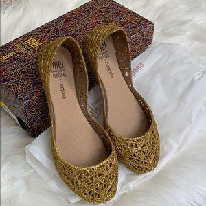 Mini Melissa Mel Campana Girls Gold flats shimmer